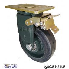 چرخ چدنی پایه آهنی سایز 160 ترمزدار