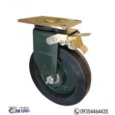 چرخ چدنی پایه آهنی سایز 200 ترمزدار