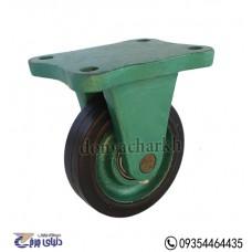 چرخ چدنی سبز روکش لاستیک سایز 13 ثابت